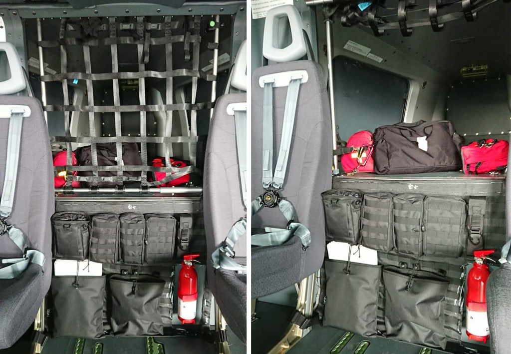 Helicopter MOLLE panel with assorted utility pouches